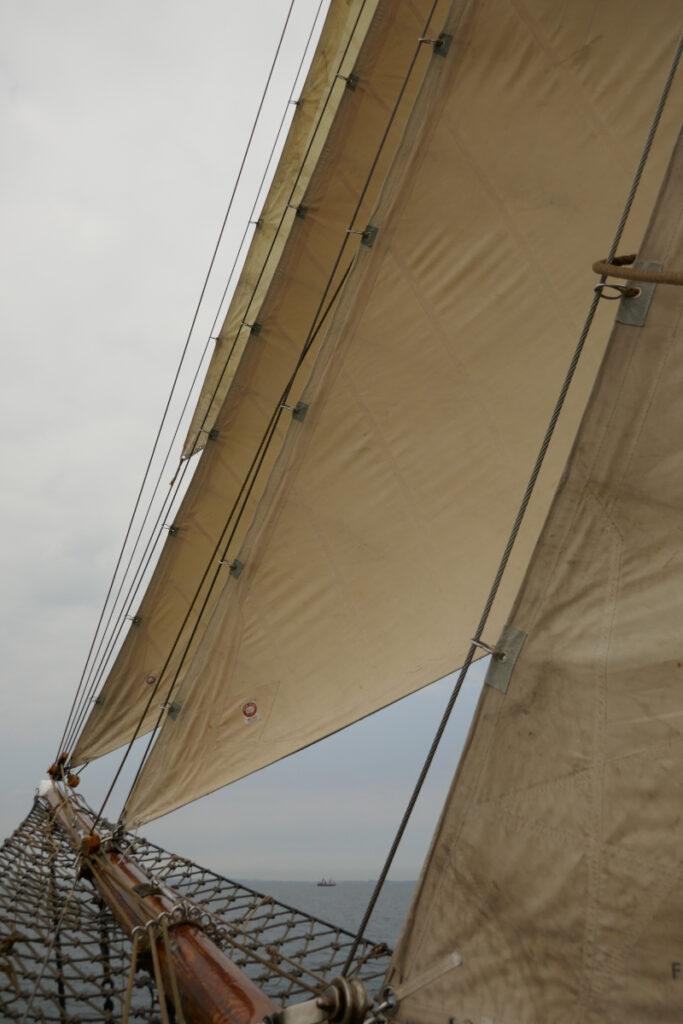 Segel vor grauem Himmel