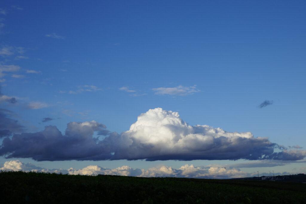 Wolke im Abendhimmel über Weinbergen